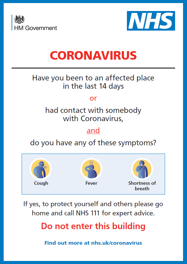 Coronavirus - do not enter the surgery, call 111