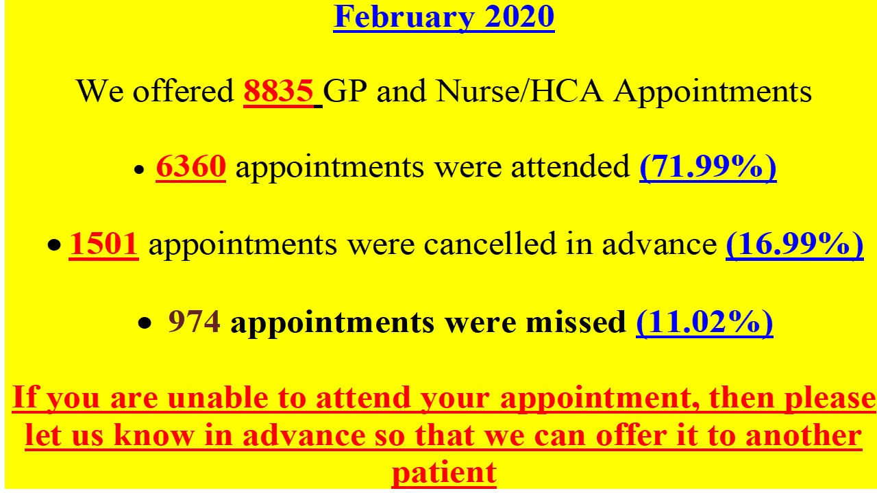 If you are unable to attend your appointment please let us know