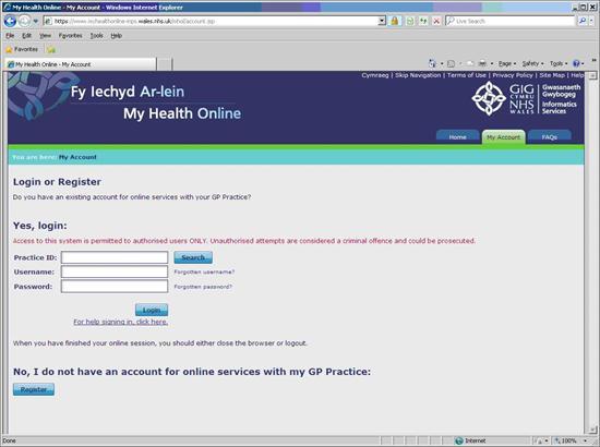 caereinion medical practice my health online registration